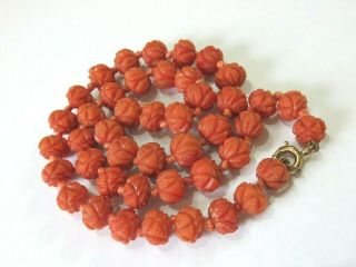 Antique Georgian Carved Coral Beads Necklace 40 Grams