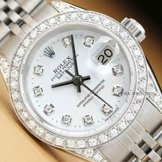Rolex Ladies Datejust 18k White Gold Bezel Diamond Dial & Lugs Ss Watch