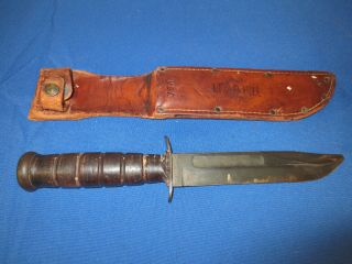 World War Ii Navy Issue Ka - Bar Fighting Knife With Leather Scabbard - Identified