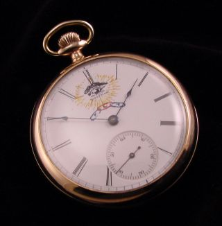 Waltham 16s Riverside Pocket Watch With Rare Odd Fellows Hand Painted Dial L@@k