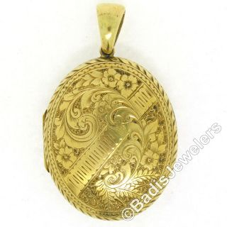 Antique Large 18k Yellow Gold Hand Engraved Detailed Etched Dual Locket Pendant