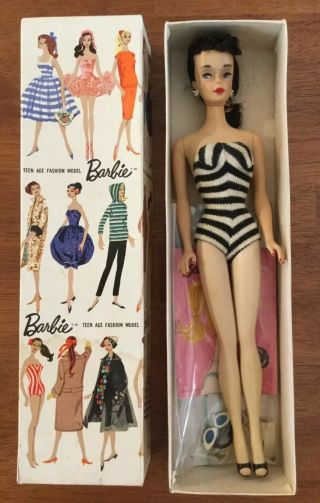 1960 3 Brunette Ponytail Barbie Boxed W Swimwear & Accessories
