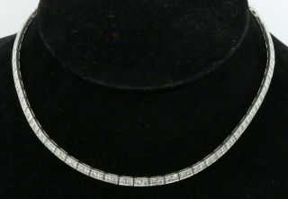 Vintage 1950s Platinum Elegant 12.  0ctw Vs1/g Diamond Riviera Necklace