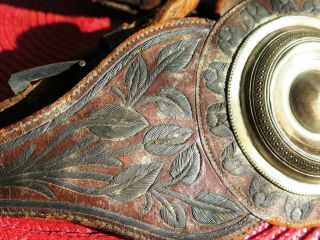 ANTIQUE HQ MEXICAN SPURS SILVER THREAD EMBROIDERY STRAPS LEATHERS,  SILVERI NLAID 3