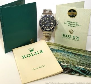 Vintage Rolex Submariner Date 1680 1970s Mens Steel Watch Booklet Papers Sticker
