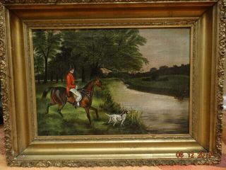 Antique Oil Painting Oil Painting Fox Hunting