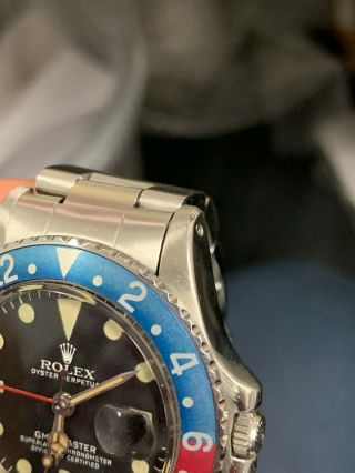 Vintage Rolex GMT MASTER 1675 Pepsi MKIV Dial,  beautifully faded insert 4
