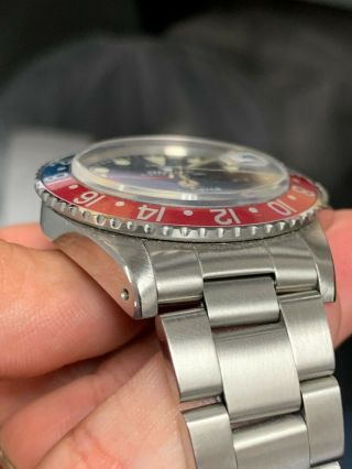 Vintage Rolex GMT MASTER 1675 Pepsi MKIV Dial,  beautifully faded insert 5