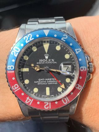Vintage Rolex GMT MASTER 1675 Pepsi MKIV Dial,  beautifully faded insert 6