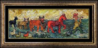 David Burliuk Painting Oil On Board Signed Rare Antique Framed Artwork