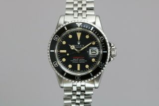 "Rolex Submariner 1680 ""Red Sub"" Vintage Automatic Dive Watch Circa 1970s 10"