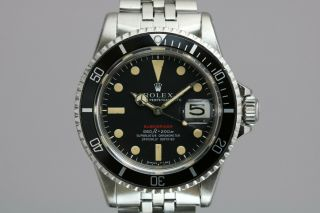 """Rolex Submariner 1680 """"red Sub"""" Vintage Automatic Dive Watch Circa 1970s"""