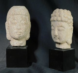 Vintage Not Ancient Granite Limestone Buddha Heads Carved Natural Stone Bust 80s
