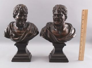 Pair Antique 19thC Theater,  Comedy & Tragedy Bronze Bust Sculptures,  NR 2