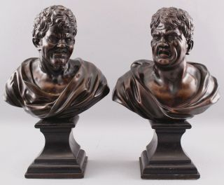 Pair Antique 19thC Theater,  Comedy & Tragedy Bronze Bust Sculptures,  NR 3