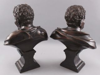 Pair Antique 19thC Theater,  Comedy & Tragedy Bronze Bust Sculptures,  NR 4