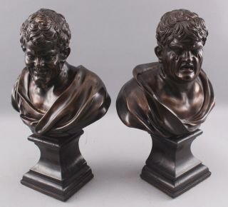Pair Antique 19thC Theater,  Comedy & Tragedy Bronze Bust Sculptures,  NR 5