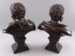 Pair Antique 19thC Theater,  Comedy & Tragedy Bronze Bust Sculptures,  NR 8