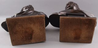 Pair Antique 19thC Theater,  Comedy & Tragedy Bronze Bust Sculptures,  NR 9