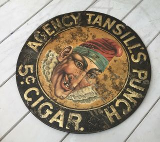 Antique 24 Inch Round Agency Tansill's Punch 5 Cent Cigar Metal Tin Sign 3