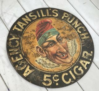 Antique 24 Inch Round Agency Tansill's Punch 5 Cent Cigar Metal Tin Sign 4