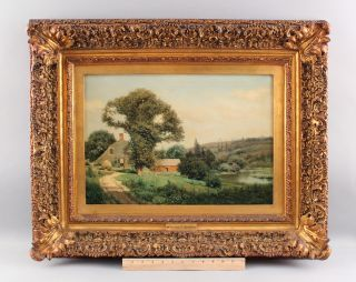 19thc Antique Henry Pember Smith American Country Landscape Oil Painting,  Nr