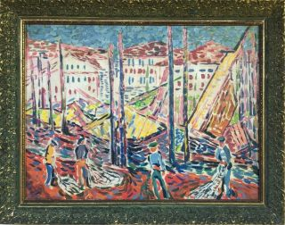 A Derain Signed Antique Large Oil / Canvas Painting French?