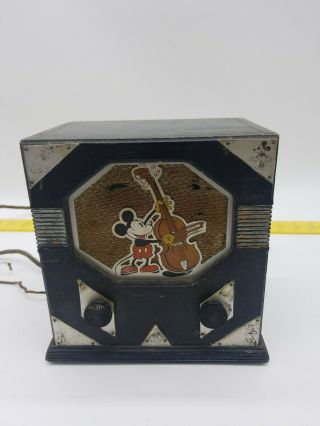 Vintage 1930s Old Walt Disney Emerson Rare Mickey Mouse Antique Tube Radio