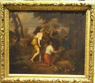 Fine Large 17th Century Italian Old Master Feast Of Bacchus Antique Oil Painting