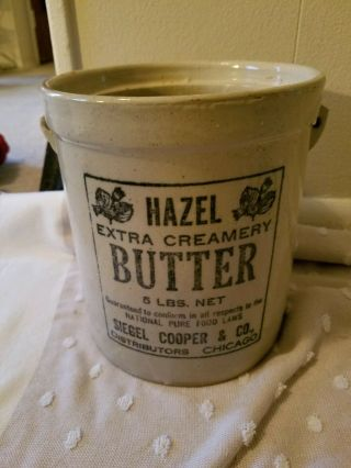 Rare - Redwing 5 Lb Hazel Butter Crock With Lid - Lid Has Chips.