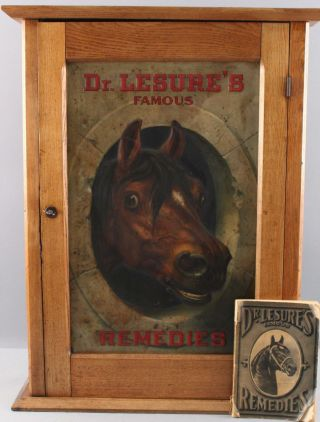 Antique DR.  LESURES REMEDIES Veterinary Medicine Country Store Cabinet Sign Book 2