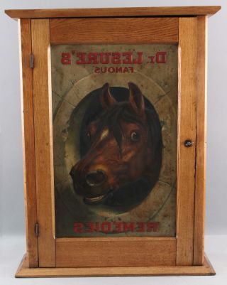 Antique DR.  LESURES REMEDIES Veterinary Medicine Country Store Cabinet Sign Book 3