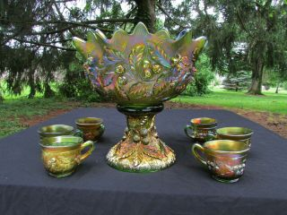 Northwood Acorn Burrs Antique Carnival Glass Complete 8 Pc.  Punch Set Green