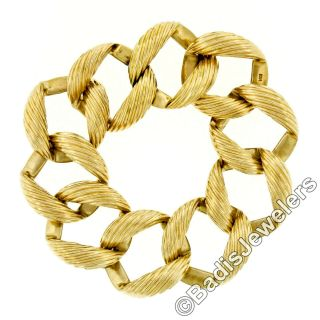 """Vintage Large 14k Yellow Gold Grooved 1 """" Wide Textured Curb Link Chain Bracelet"""