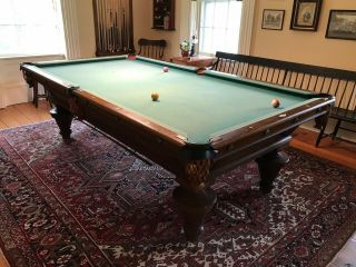 Antique Pool Table (9 Foot,  Schwikert & Sons,  1890s,  With Accessories)