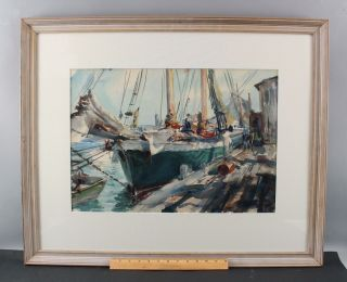 Antique 1940 John Whorf Provincetown Maritime Fishing Boat Watercolor Painting