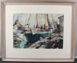 Antique 1940 JOHN WHORF Provincetown Maritime Fishing Boat Watercolor Painting 2