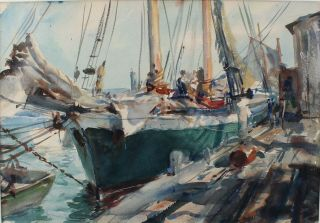 Antique 1940 JOHN WHORF Provincetown Maritime Fishing Boat Watercolor Painting 3