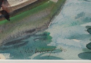 Antique 1940 JOHN WHORF Provincetown Maritime Fishing Boat Watercolor Painting 4