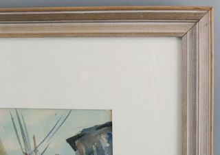 Antique 1940 JOHN WHORF Provincetown Maritime Fishing Boat Watercolor Painting 5