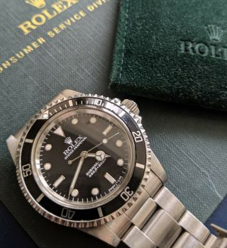 Vintage Rolex Submariner Ref 5513 No Date White Gold Surrounds With Papers