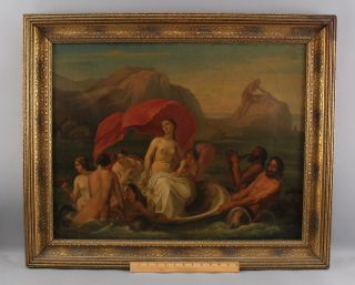18thc Antique Old Master Oil Painting Rape Of Europa Classical Nude Women & Men