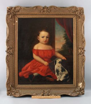 19thc Antique American Folk Art Portrait Oil Painting,  Girl & Staffordshire Dog