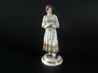 Miniature Antique 19th Century English Staffordshire Pottery Figure Woman 2.  5 ""