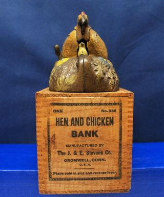 "Antique Cast Iron Mechanical Bank – J.  & E.  Stevens – ""Hen and Chicken Bank"" 12"