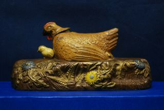 "Antique Cast Iron Mechanical Bank – J.  & E.  Stevens – ""Hen and Chicken Bank"" 2"