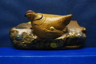 "Antique Cast Iron Mechanical Bank – J.  & E.  Stevens – ""Hen and Chicken Bank"" 6"