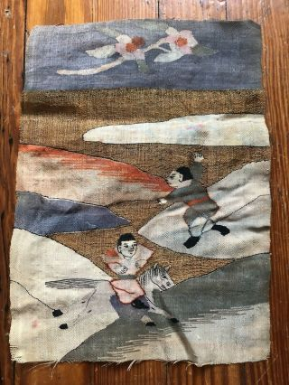 Antique Chinese Hand Embroidered Gold Thread Silk Figural Tapestry Textile