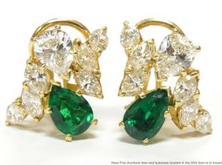 Gia Ultra Fine F1 Natural Emerald 2.  20ctw Diamond Earrings 14k Gold Omega Backs