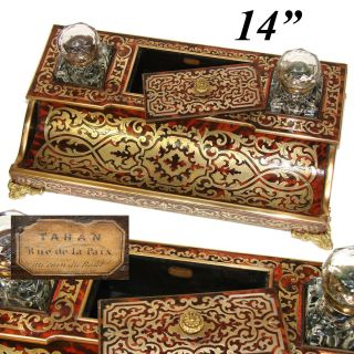 """Rare Antique French Tahan Marked Boulle 14 """" Inkstand Double Inkwell,  Stamp Box"""